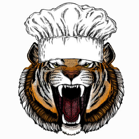 Vector tiger portrait. Animal head. Chef cook hat. Restaurant logo.