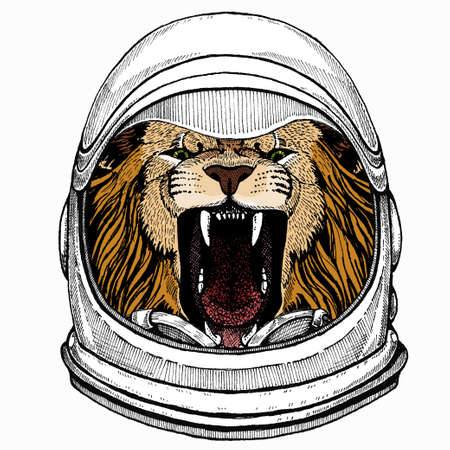 Lion head. Portrait of wild african animal. Astronaut animal. Vector portrait. Cosmos and Spaceman. Space illustration about travel to the moon. Funny science hand drawn illustration.