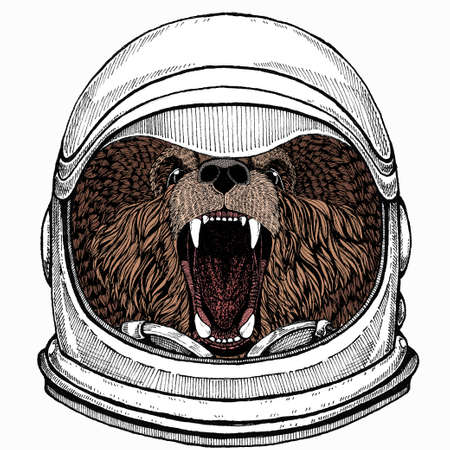 Astronaut animal. Vector portrait. Cosmos and Spaceman. Space illustration about travel to the moon. Funny science hand drawn illustration. Cosmonaut, and universe. Hand drawn art about astronomy, planet, journey, galaxy, sky.