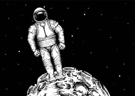 Flat design, Astronaut stand on the moon. Vector illustration. Print for t-shirt, poster, banner.