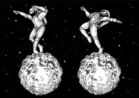 Astronaut dancing on lunar surface. Mission to Moon was completed.Vector illustration
