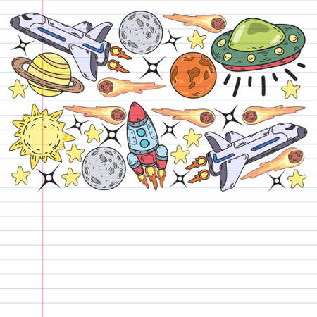 Vector doodle space pattern with planets, moon and space ship Vecteurs