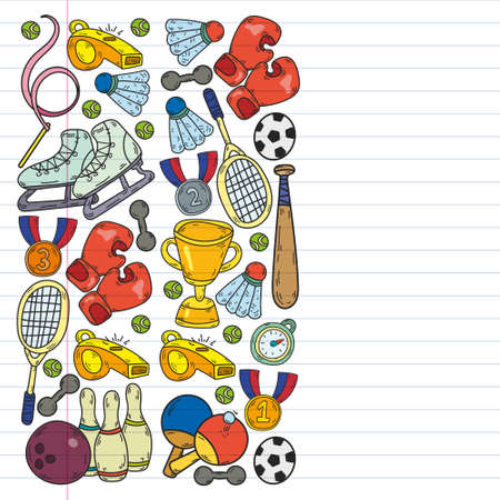 Fitness and Sport vector icons for web and mobile. Tennis, baseball, volleyball, gym, hockey.