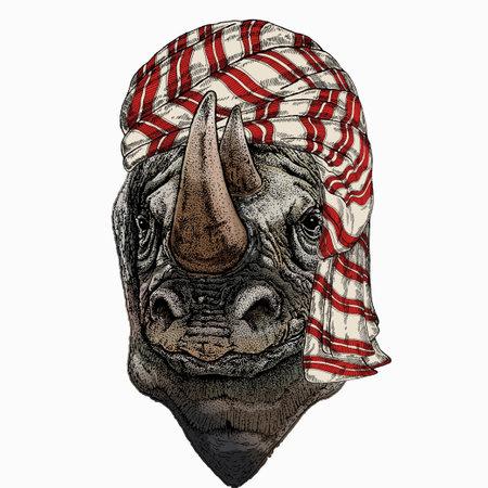 Wild animal wearing keffiyeh or kufiya. Animal head.