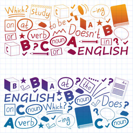Concept of learning English. Flat design, vector pattern. English courses. Vettoriali