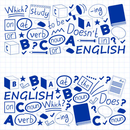 Concept of learning English. Flat design, vector pattern. English courses.