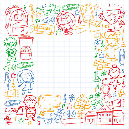 Vector pattern with items for school. Online internet education, e-learning.