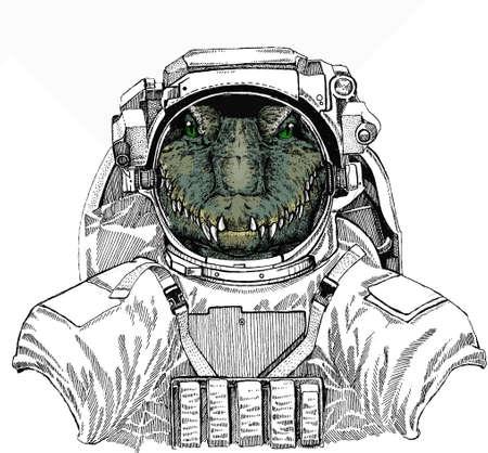 Crocodile head. Alligator portrait. Wild astronaut animal in spacesuit. Deep space. Galaxy.