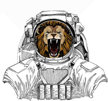 Lion head. Portrait of wild african animal. Wild astronaut animal in spacesuit. Deep space. Galaxy.