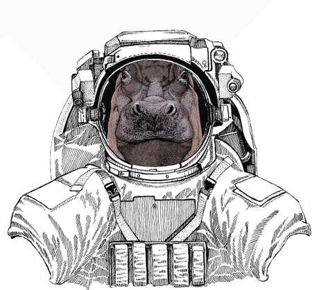 Hippo, hippopotamus portrait. Wild astronaut animal in spacesuit. Deep space. Galaxy. Head of wild animal.