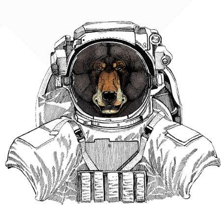 Bear wild animal face. Wild astronaut animal in spacesuit. Deep space. Galaxy. Grizzly cute brown bear head portrait. Ilustração