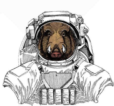 Wild boar, hog, pig. Wild astronaut animal in spacesuit. Deep space. Galaxy. Animal head, portrait