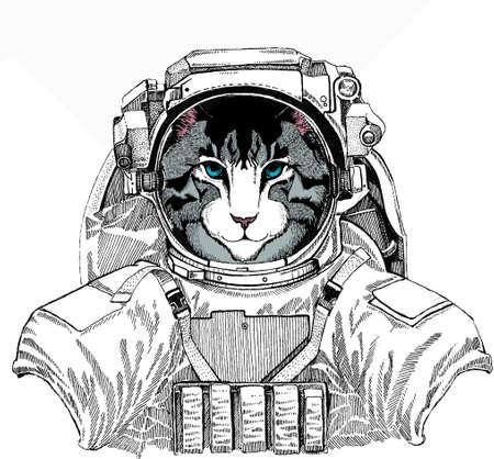 Wild astronaut animal in spacesuit. Deep space. Galaxy. Cat head. Vector animal portrait. Face of kitten.
