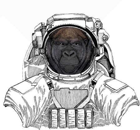 Wild astronaut animal in spacesuit. Deep space. Galaxy. Gorilla head. Vector illustration. Wild animal portrait.