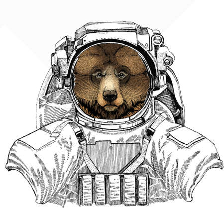 Wild astronaut animal in spacesuit. Deep space. Galaxy. Wild bear portrait. Animal head. Grizzly bear.
