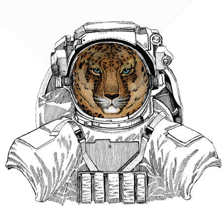 Wild astronaut animal in spacesuit. Deep space. Galaxy. Leopard head. Wild cat. Animal for african safari logo emblem.