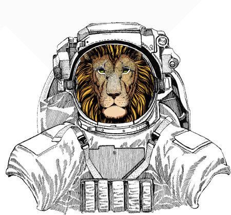 Wild astronaut animal in spacesuit. Deep space. Galaxy. Lion. Portrait of wild lion. Safari animal head.