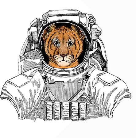 Wild astronaut animal in spacesuit. Deep space. Galaxy. Small baby lion head, face. Safari animal.