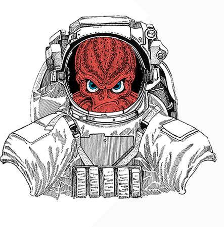 Wild astronaut animal in spacesuit. Deep space. Galaxy. Octopus vector portrait. Sea marine creature, beast.