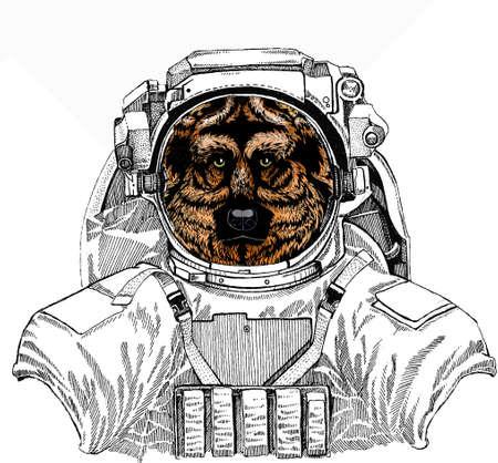Shepherd Dog vector portrait.Wild astronaut animal in spacesuit. Deep space. Galaxy.