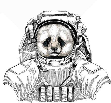 Panda, bamboo bear portrait. Wild astronaut animal in spacesuit. Deep space. Galaxy. Head of big panda. Banco de Imagens