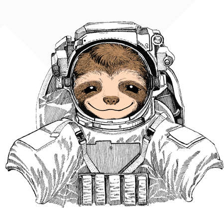 Smiling sloth face, vector portrait of sloth. Wild astronaut animal in spacesuit. Deep space. Galaxy. Animal portrait Vector Illustration