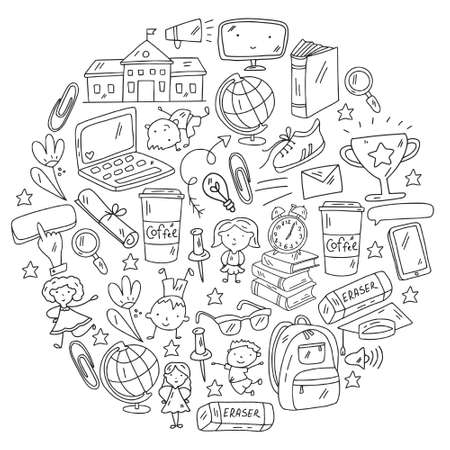 Back to school vector pattern. Online internet education. Vector Illustratie