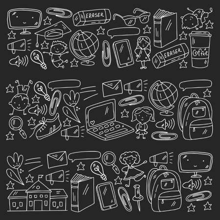 Creativity and imagination. Vector icons with school items.