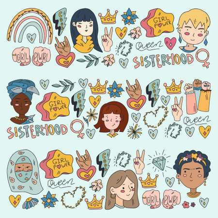 Creative pattern with vector woman. Group of african and indian girls.