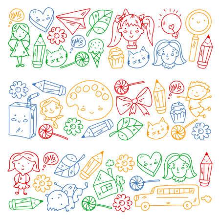 Creativity and imagination Vector illustration. Children education.