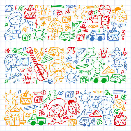 Vector pattern with little children. Kindergarten. Imagination. Creativity. Play.