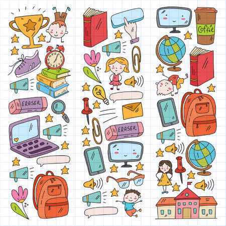 Cartoon icons with education items. Online lesson. E-learning.