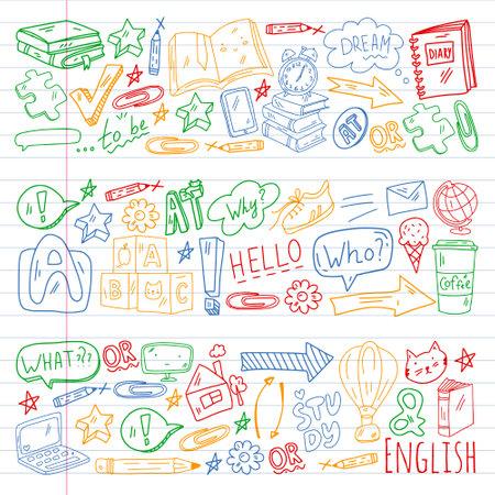 English course. E-learning, online education. English language
