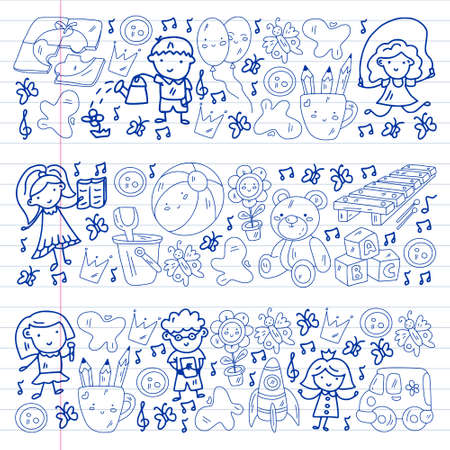 Kindergarten pattern with little children and toys. Creativity and imagination.