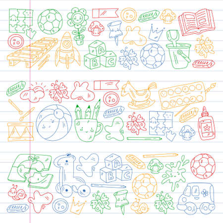 Vector pattern with boys and girls. Kindergarten and toys. Happy childhood and creativity with imagitanion.