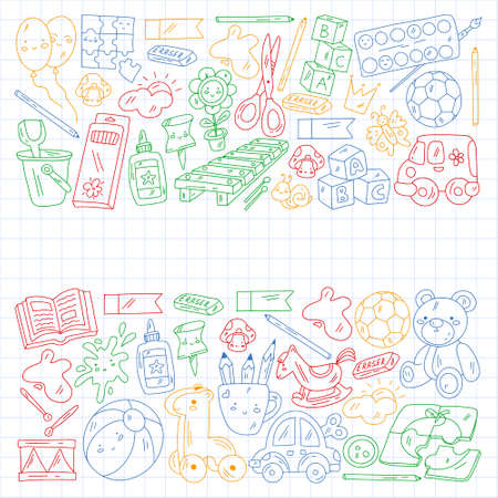 Children play with toys in the kindergarten. Kids playground. Education, creativity, imagination. 矢量图像