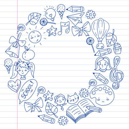 School, kindergarten with cute vector children. Creativity and imagination. Dancing, singing, painting, online education.