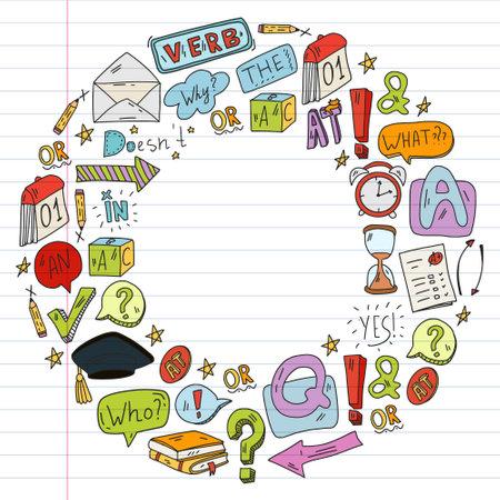 Doodle vector concept illustration of learning English language. English language courses. School. College. University.