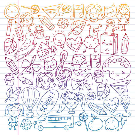 Vector pattern. School and online education. Little boys and girls play and grow together. Online education.