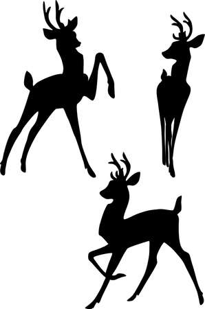 fawn: Silhouette of three deers Stock Photo
