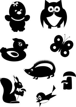 black squirrel: Silhouette Stock Photo