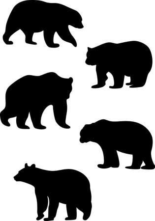 large group of animals: siluetas de osos Vectores