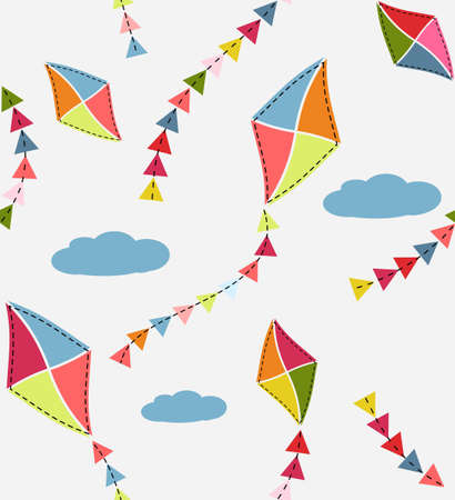 Seamless pattern with kites Vector