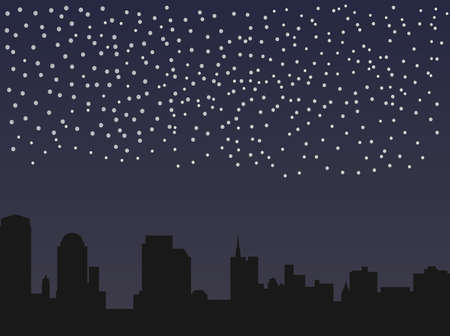 starry sky and the panorama of the night city Stock Vector - 19972317