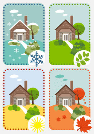 Four seasons  vector time-lapse Vector