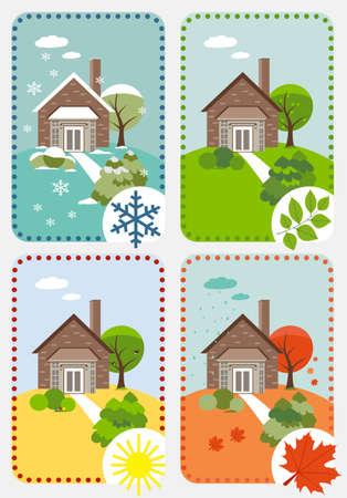 time lapse: Four seasons  vector time-lapse Illustration