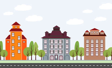 row houses: Landscape. Town scene with row of houses along the street  in flat simple style.