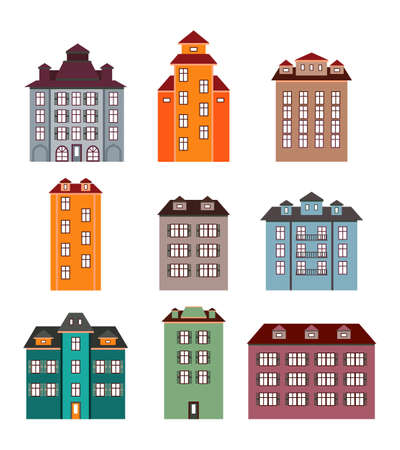 shutters: Set of colored houses with shutters in a flat style on a white background.