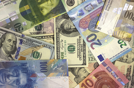 Money background american dollars, euro and swiss franc 版權商用圖片