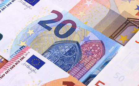 Euro Money Banknotes Different denominations abstract background